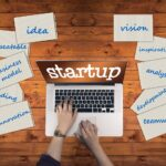 startupと画面に映るパソコンと、ビジネス用語の書かれた10冊のノート