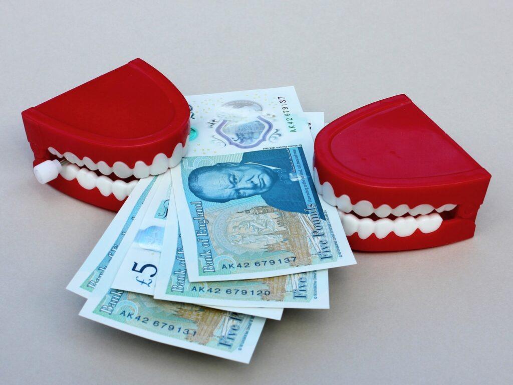 外国紙幣を噛む入れ歯