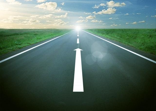 白線が前進の矢印になった道路