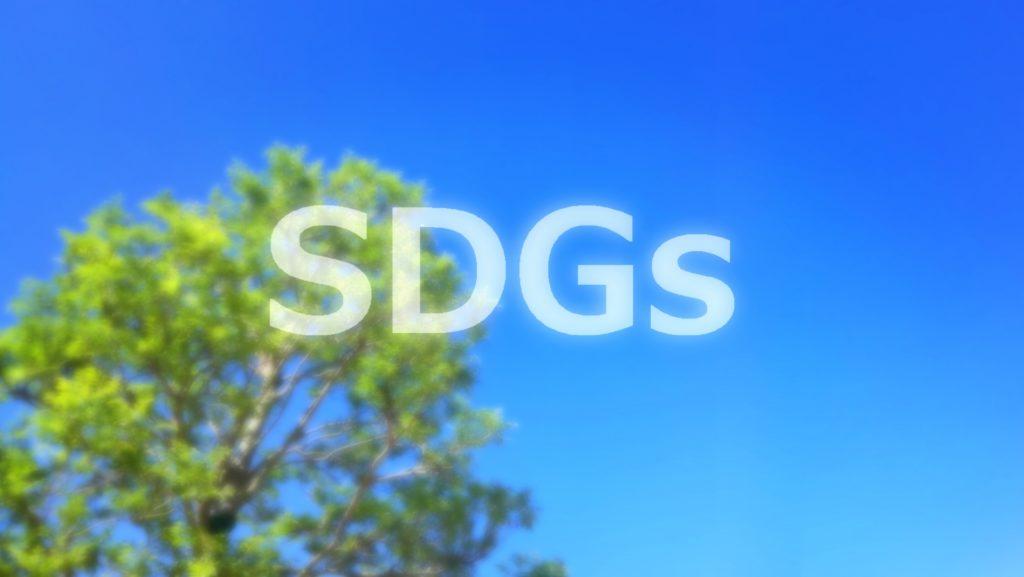 青空と木の写真に書かれたSDGs