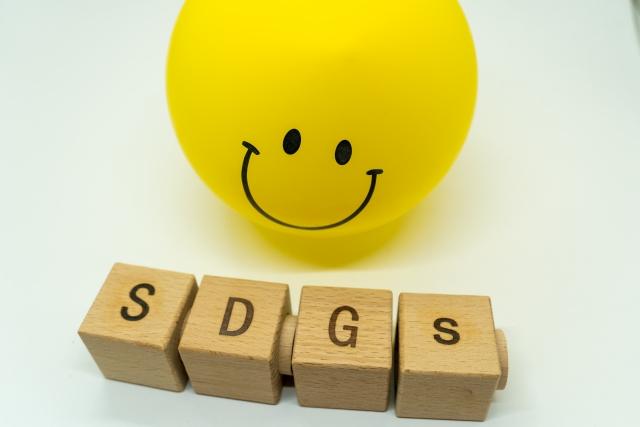 SDGSと書かれたブロックとほほ笑む黄色いボール