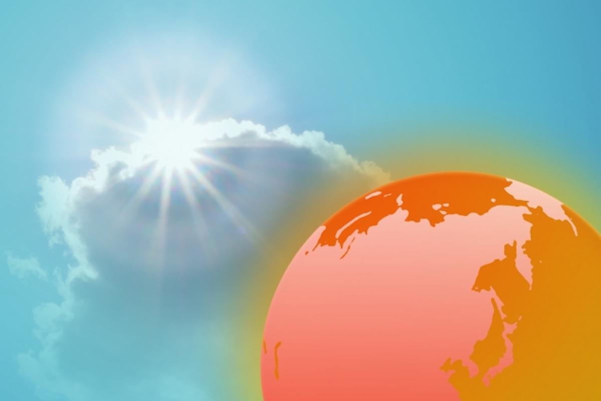 太陽に照らされて熱くなる地球
