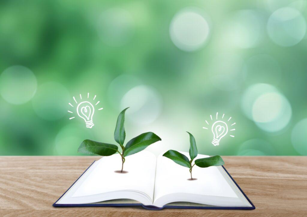 本から芽生える植物とアイディア