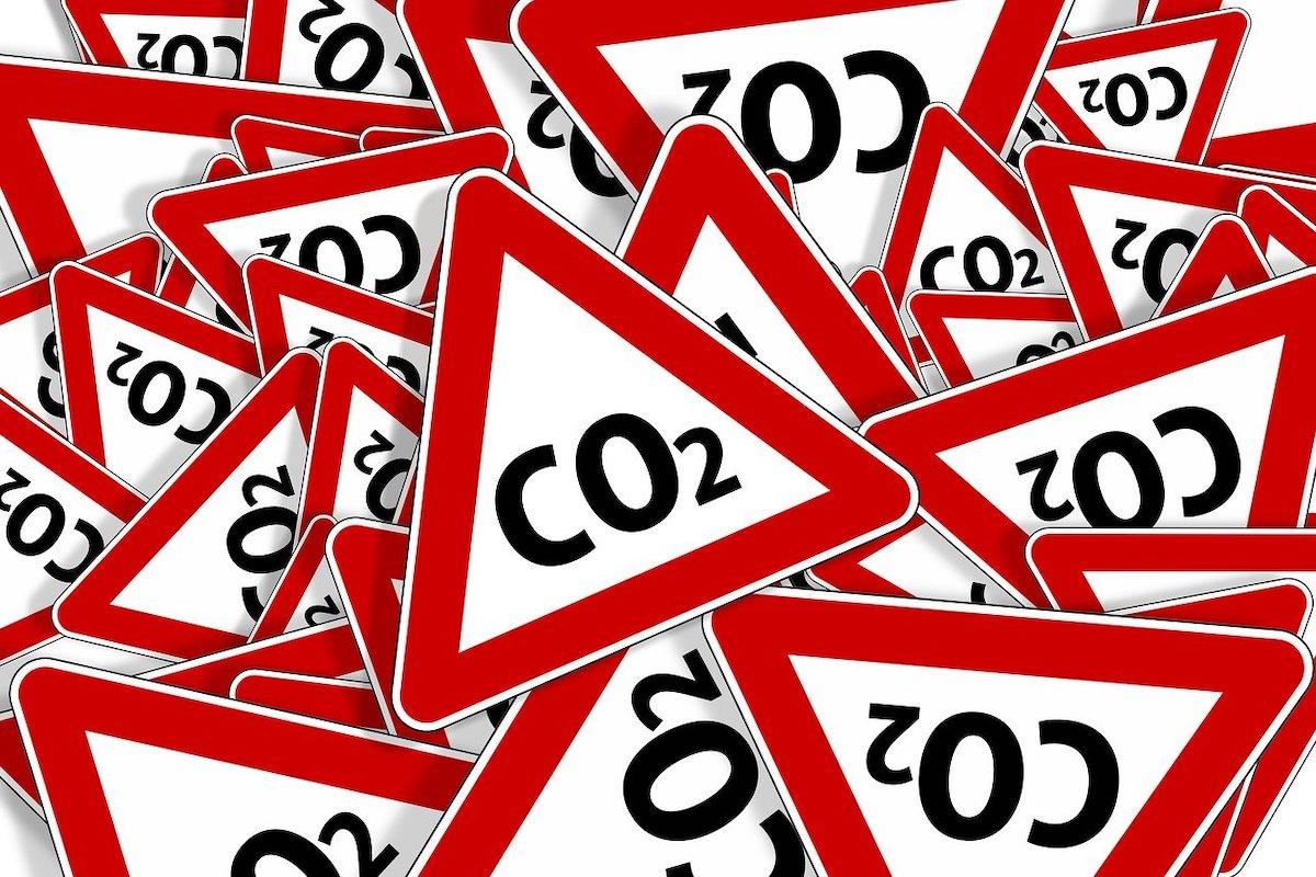 CO2と書かれた看板