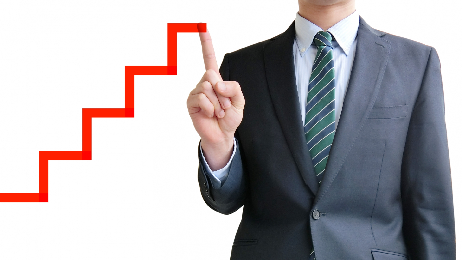 ビジネスマンとステップアップのイメージ