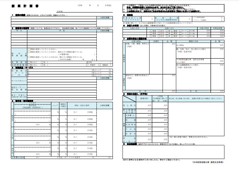 創業計画書のイメージ